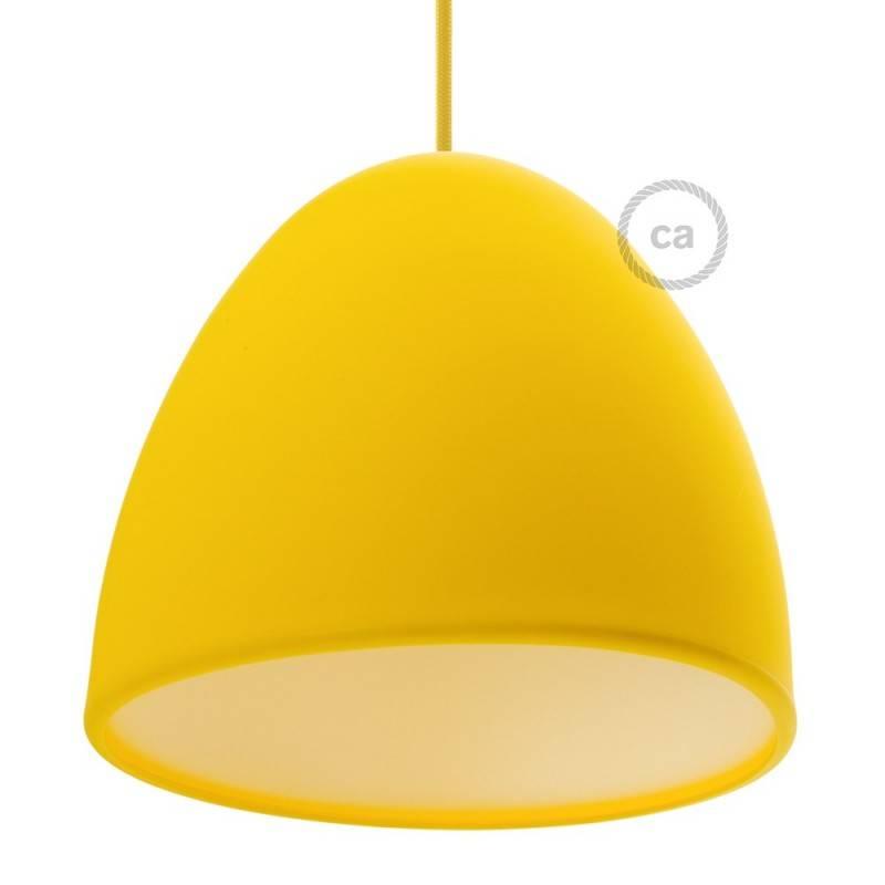 Abat-jour en silicone jaune complet de diffuseur et serre-câble. Diamètre 25 cm.