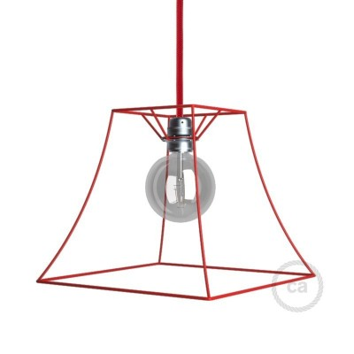 Abat-jour cage Pyramide en métal couleur Rouge culot E27