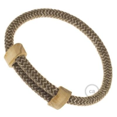 Creative-Bracelet en Coton et Lin naturel Écorce RD73. Fermeture coulissante en bois. Made in Italy.