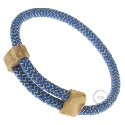 Creative-Bracelet en Coton et Lin naturel Bleu Steward RD75. Fermeture coulissante en bois. Made in Italy.