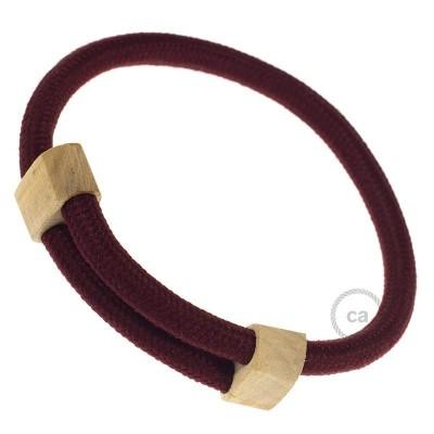 Creative-Bracelet en tissu Effet Soie Bordeaux RM19. Fermeture coulissante en bois. Made in Italy.