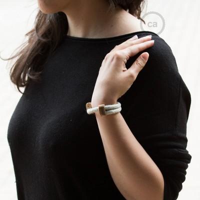 Creative-Bracelet en Lin Naturel Neutre RN01. Fermeture coulissante en bois. Made in Italy.