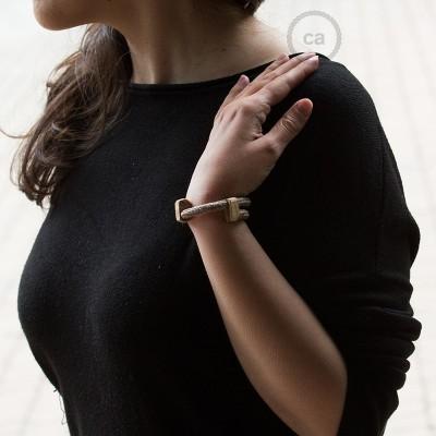 Creative-Bracelet en Coton et Lin naturel Tweed Rouille RS82. Fermeture coulissante en bois. Made in Italy.