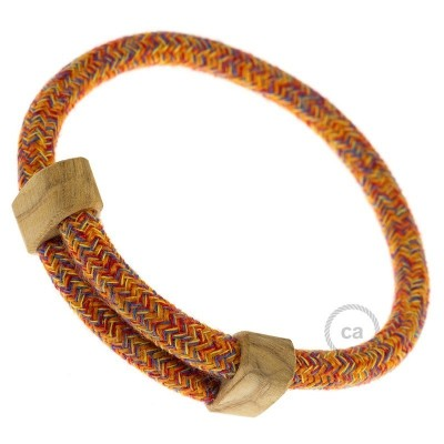 Creative-Bracelet en Coton Indian Summer RX07. Fermeture coulissante en bois. Made in Italy.