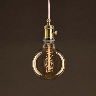 Ampoule Vintage Dorée Globe G125 Filament Carbone courbe avec Spirale 30 W E27 Dimmable 2000K