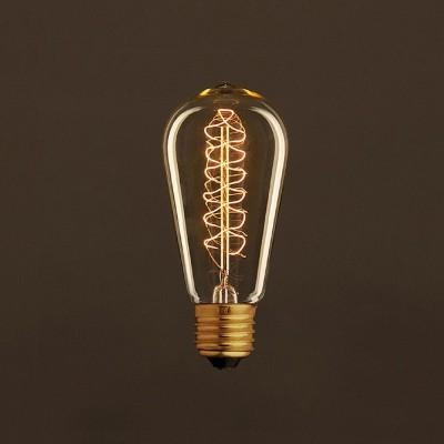 Ampoule Vintage Dorée Edison ST58 Filament Carbone a double spirale 30W E27 Dimmable 2000K