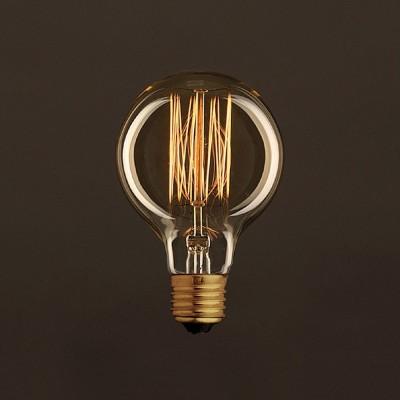 Ampoule Vintage Dorée Globe G80 Filament Carbone en cage 30W E27 Dimmable 2000K