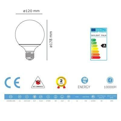 Light bulb energy saving Globe 90 25W E27
