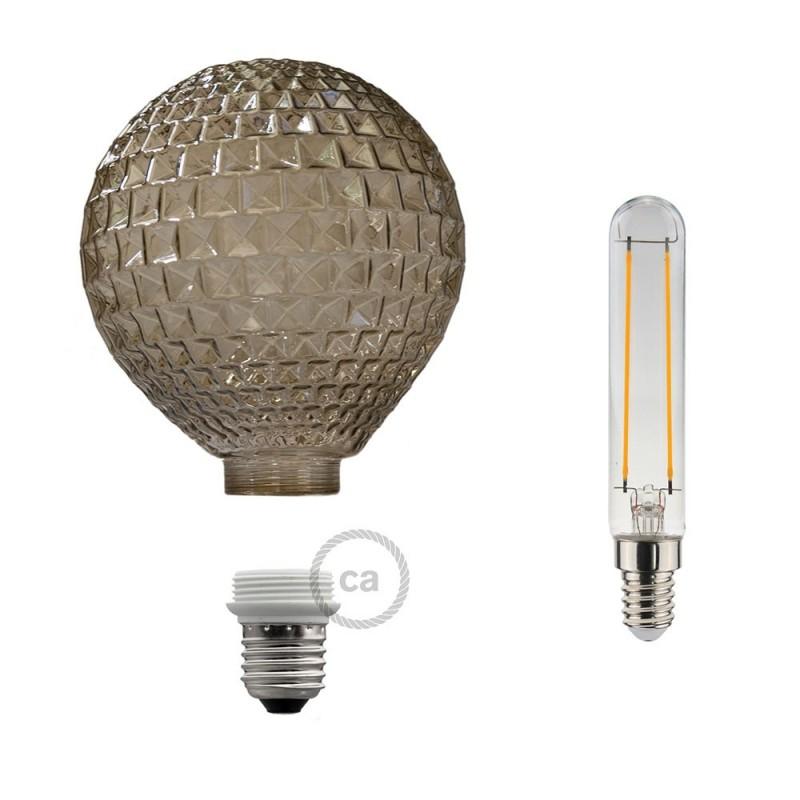 Ampoule Modulaire Décorative LED G125 Diamant Fumé 5W E27 Dimmable 2700K.