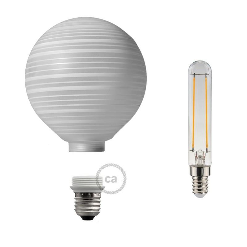 Ampoule Modulaire Décorative LED G125 Blanche à Lignes Horizontales 5W E27 Dimmable 2700K.