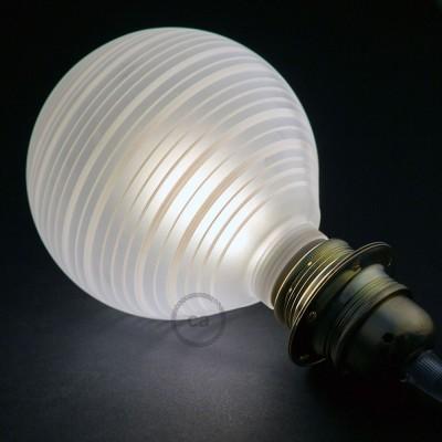 Modulaire lichtbron G125 wit met witte horizontale lijnen en 5W E27 dimbare LED 2700K