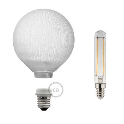 Modulaire lichtbron G125 wit met witte verticale lijnen en 5W E27 dimbare LED 2700K