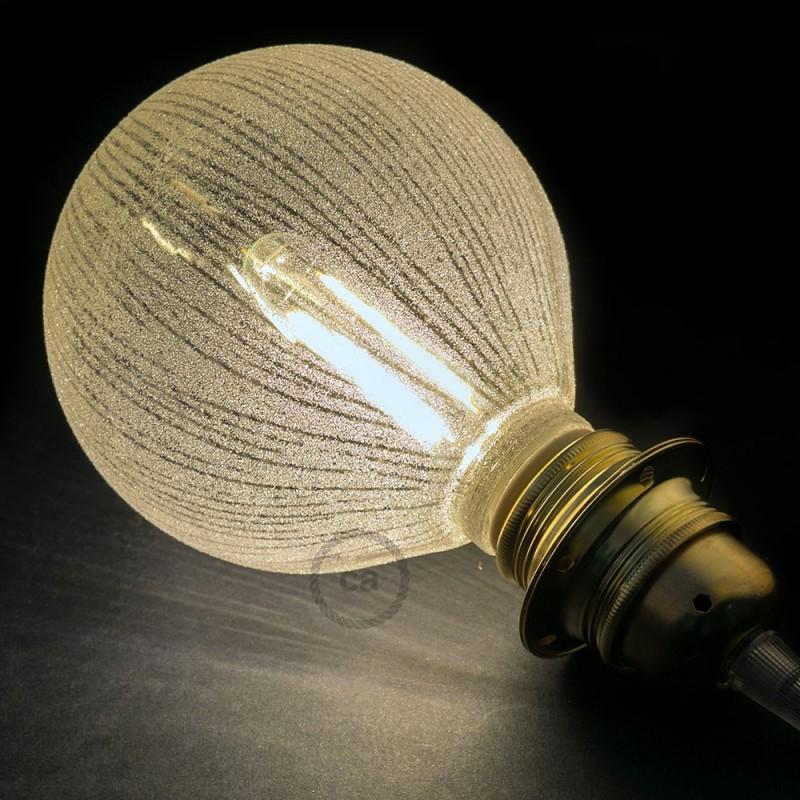 Ampoule Modulaire Décorative LED G125 Blanche à Lignes Verticales 5W E27 Dimmable 2700K.