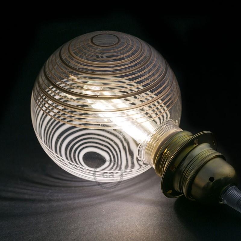 Ampoule Modulaire Décorative LED G125 Blanc à Cercles Blancs et Noirs 5W E27 Dimmable 2700K.