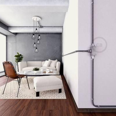 3-weg design kabeldoos T-vorm voor Creative-Tube elektrabuis - aluminium