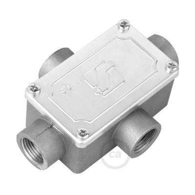 Boîte de jonction quatre sorties, forme X pour Creative-Tube, boîtier en aluminium