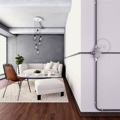 4-weg design kabeldoos X-vorm voor Creative-Tube elektrabuis - aluminium