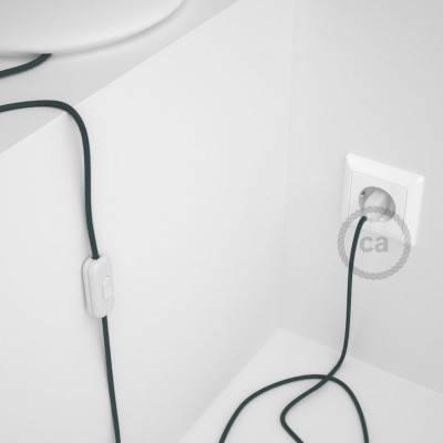 Cordon pour lampe, câble RC30 Coton Gris Pierre 1,80 m. Choisissez la couleur de la fiche et de l'interrupteur!