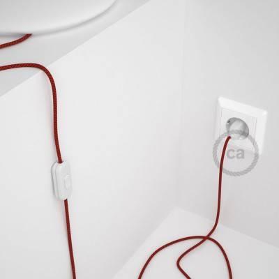 Cordon pour lampe, câble RT94 Effet Soie Red Devil 1,80 m. Choisissez la couleur de la fiche et de l'interrupteur!