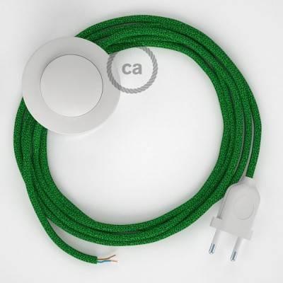 Cordon pour lampadaire, câble RL06 Effet Soie Paillettes Vert 3 m. Choisissez la couleur de la fiche et de l'interrupteur!