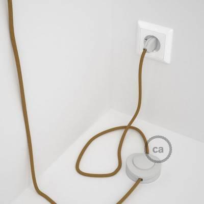 Strijkijzersnoer set RC31 honing goud katoen 3 m. voor staande lamp met stekker en voetschakelaar.