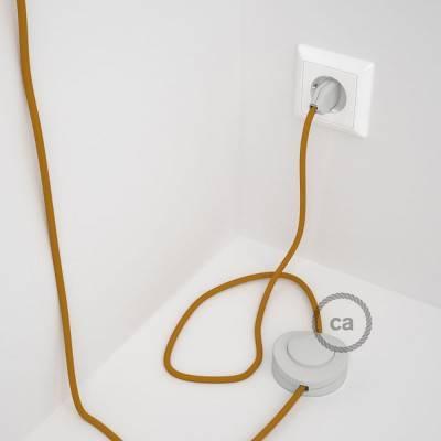 Strijkijzersnoer set RM25 mosterd viscose 3 m. voor staande lamp met stekker en voetschakelaar.