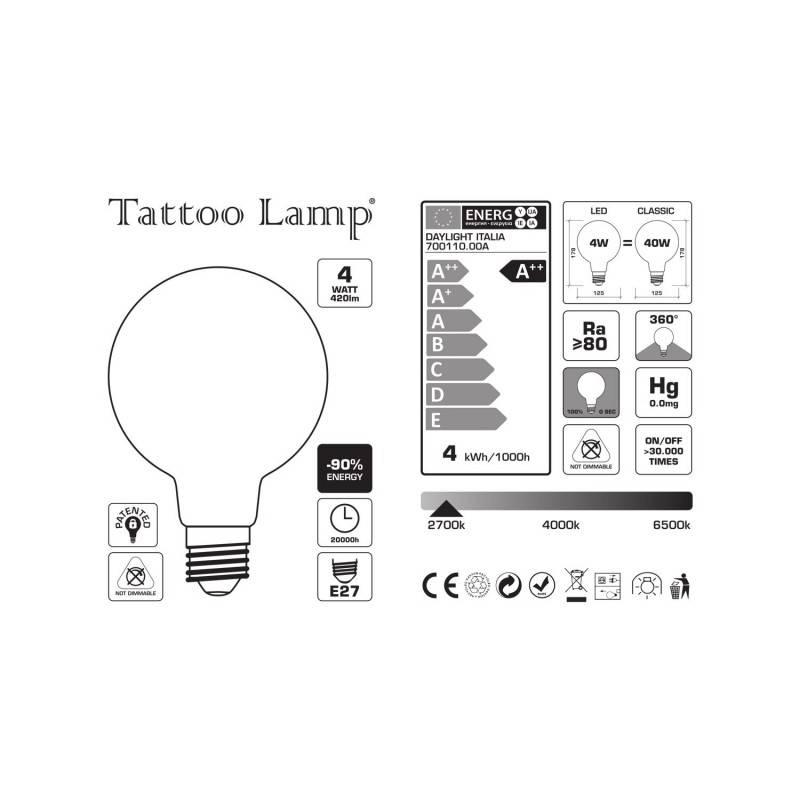 LED lichtbron Globe G125 gebogen LED spiraal – Tattoo Lamp® Saturn 4W E27 2700K