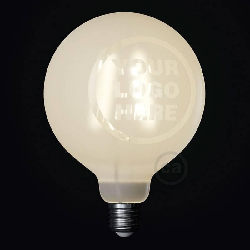 LED lichtbron Globe G125 gebogen LED spiraal – Tattoo Lamp® gepersonaliseerd 4W E27 2700K