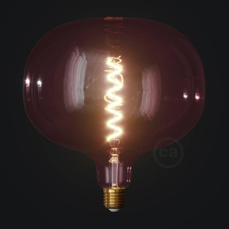 Ampoule LED Cobble série Pastel, Rose Poudré (Berry Red), filament spirale 4W E27 Dimmable 2200K