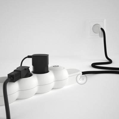 Bloc multiprise avec câble en tissu Effet Soie Noir RM04 et fiche schuko avec anneau confort