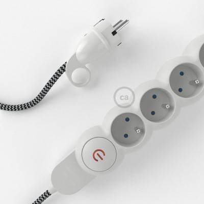 Bloc multiprise avec câble en tissu Effet Soie Noir ZigZag RZ04 et fiche schuko avec anneau confort
