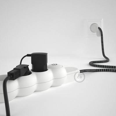 Bloc multiprise avec câble en tissu Effet Soie 3D en relief Étoiles RT41 et fiche schuko avec anneau confort