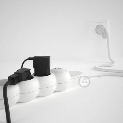 Bloc multiprise avec câble en tissu Effet Soie Blanc RM01 et fiche schuko avec anneau confort