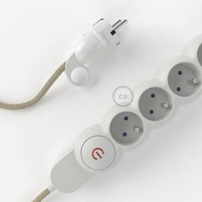"""Stekkerdoos met strijkijzersnoer van neutraal natuurlijk linnen RN01 en randaarde stekker met comfortabele """"ring"""" grip"""