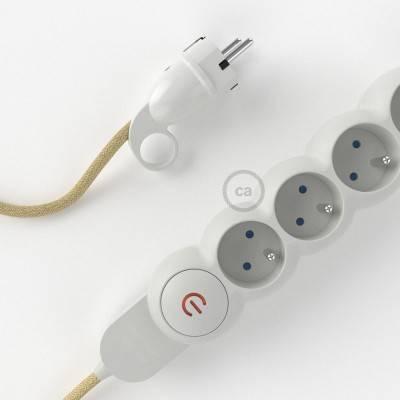 Bloc multiprise avec câble en Jute RN06 et fiche schuko avec anneau confort