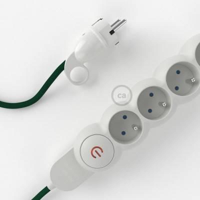 Bloc multiprise avec câble en tissu Effet Soie Vert Foncé RM21 et fiche schuko avec anneau confort