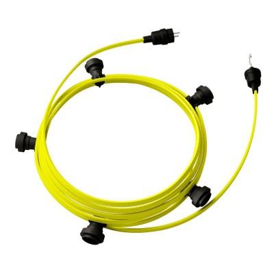 Guirlande lumineuse guinguette 7,5 m prête à l'emploi avec câble Jaune Fluo CF10 avec 5 douilles, crochet et prise inclus