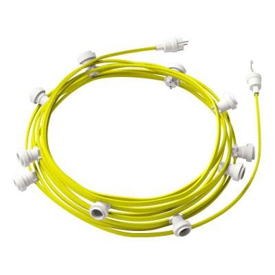 Guirlande lumineuse guinguette 12,5 m prête à l'emploi avec câble Jaune Fluo CF10 avec 10 douilles, crochet et prise inclus