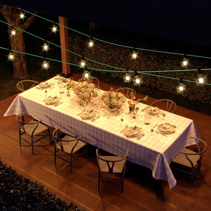 Guirlande lumineuse guinguette 7,5 m prête à l'emploi avec câble Opale CH69 avec 5 douilles, crochet et prise inclus