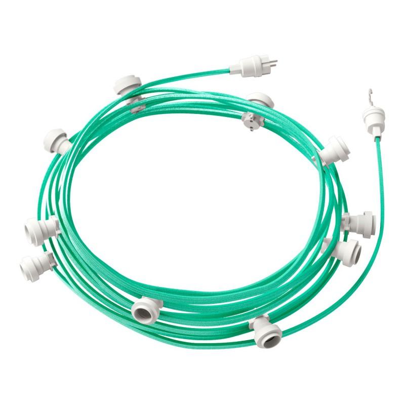 Guirlande lumineuse guinguette 12,5 m prête à l'emploi avec câble Opale CH69 avec 10 douilles, crochet et prise inclus