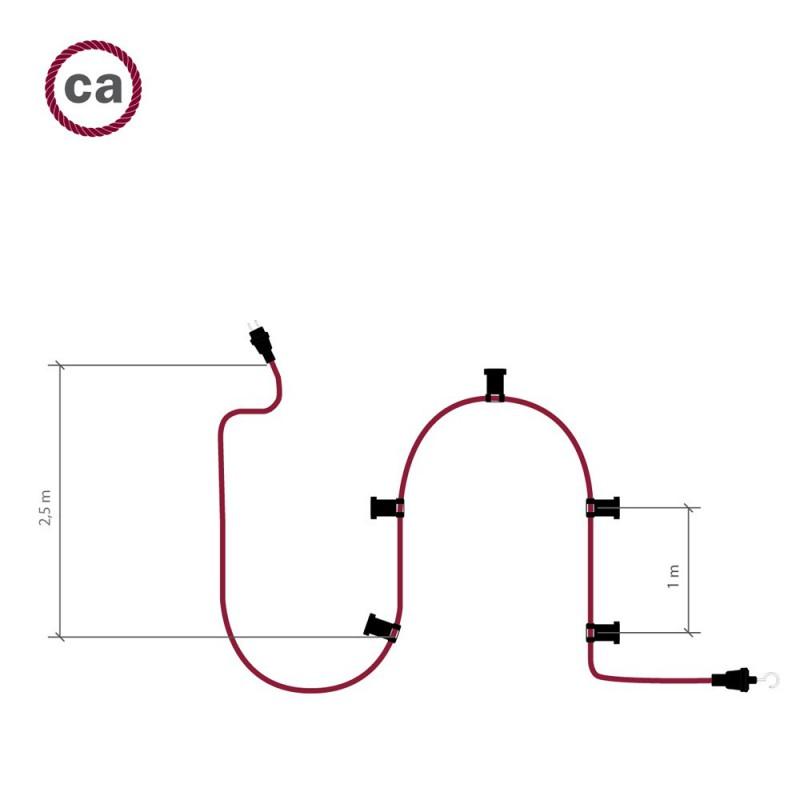 Guirlande lumineuse guinguette 7,5 m prête à l'emploi avec câble Argenté CM02 avec 5 douilles, crochet et prise inclus