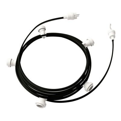 Guirlande lumineuse guinguette 7,5 m prête à l'emploi avec câble Noir CM04 avec 5 douilles, crochet et prise inclus