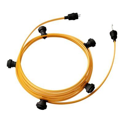 Guirlande lumineuse guinguette 7,5 m prête à l'emploi avec câble Or CM05 avec 5 douilles, crochet et prise inclus
