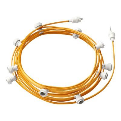 Guirlande lumineuse guinguette 12,5 m prête à l'emploi avec câble Or CM05 avec 10 douilles, crochet et prise inclus