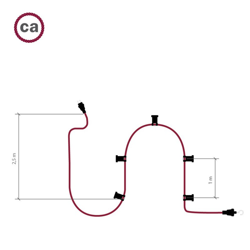 Guirlande lumineuse guinguette 7,5 m prête à l'emploi avec câble Rouge CM09 avec 5 douilles, crochet et prise inclus