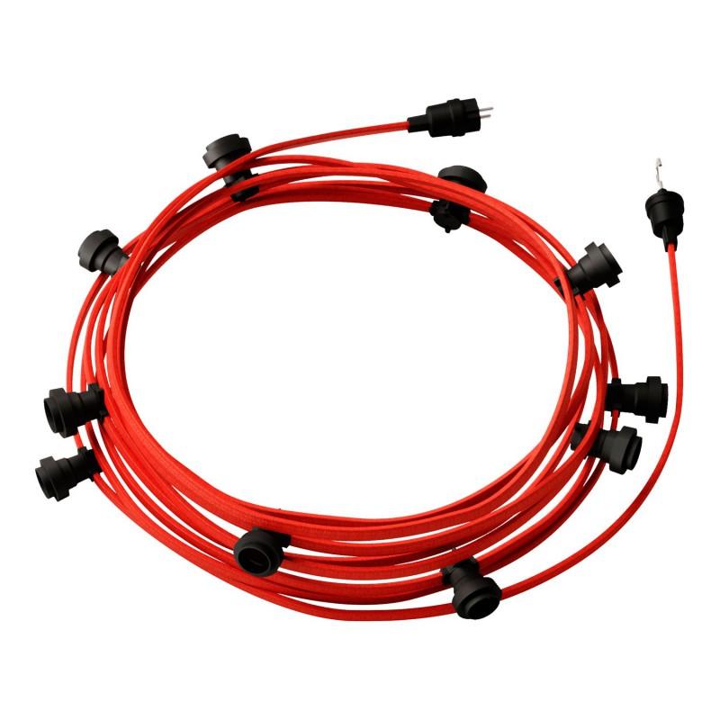 Guirlande lumineuse guinguette 12,5 m prête à l'emploi avec câble Rouge CM09 avec 10 douilles, crochet et prise inclus