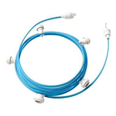 Guirlande lumineuse guinguette 7,5 m prête à l'emploi avec câble Azur Baby CM17 avec 5 douilles, crochet et prise inclus