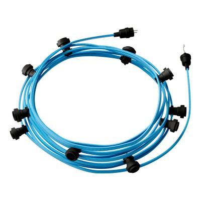 Guirlande lumineuse guinguette 12,5 m prête à l'emploi avec câble Azur Baby CM17 avec 10 douilles, crochet et prise inclus