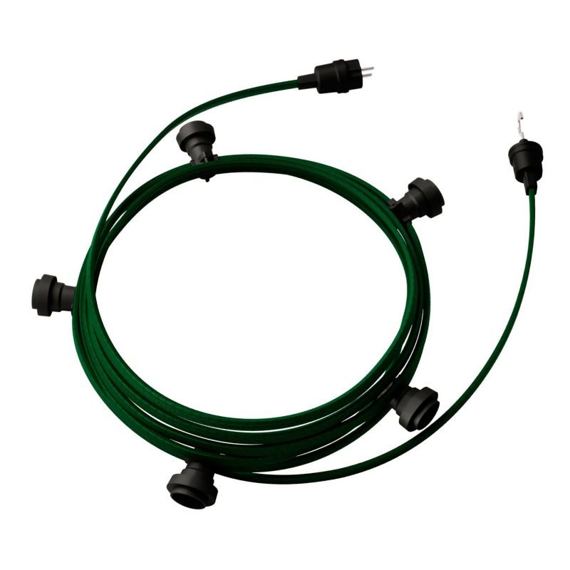 Guirlande lumineuse guinguette 7,5 m prête à l'emploi avec câble Vert Foncé CM21 avec 5 douilles, crochet et prise inclus