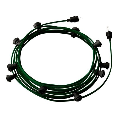 Guirlande lumineuse guinguette 12,5 m prête à l'emploi avec câble Vert Foncé CM21 avec 10 douilles, crochet et prise inclus